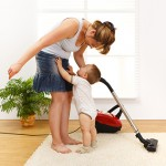 using a vacuum cleaner while house cleaning