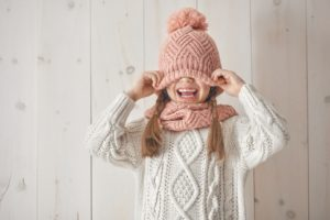 Girl-Wearing-Winter-Sweater-and-Hat